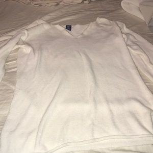 Gap white knitted v-neck sweater